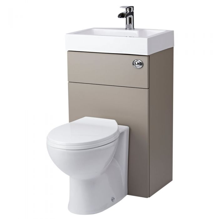 Milano Linton - Stone Grey Modern Select Toilet and Basin Unit Combination - 502mm x 890mm (1 Tap-Hole)