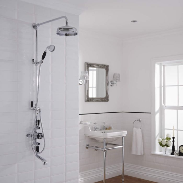 Hudson Reed Exposed Shower Valve with Grand Rigid Riser and Spout - Chrome/Black