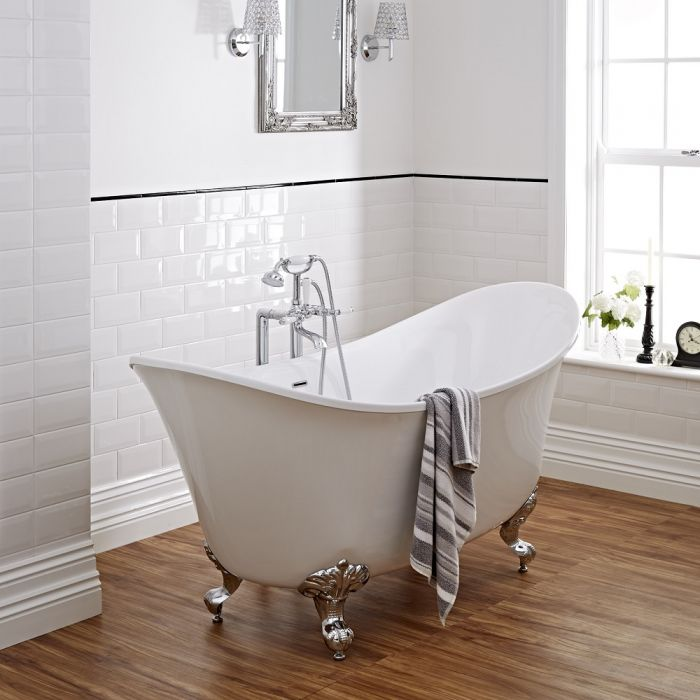 Milano 1730mm Contemporary Double Ended Freestanding Bath With Choice of Feet