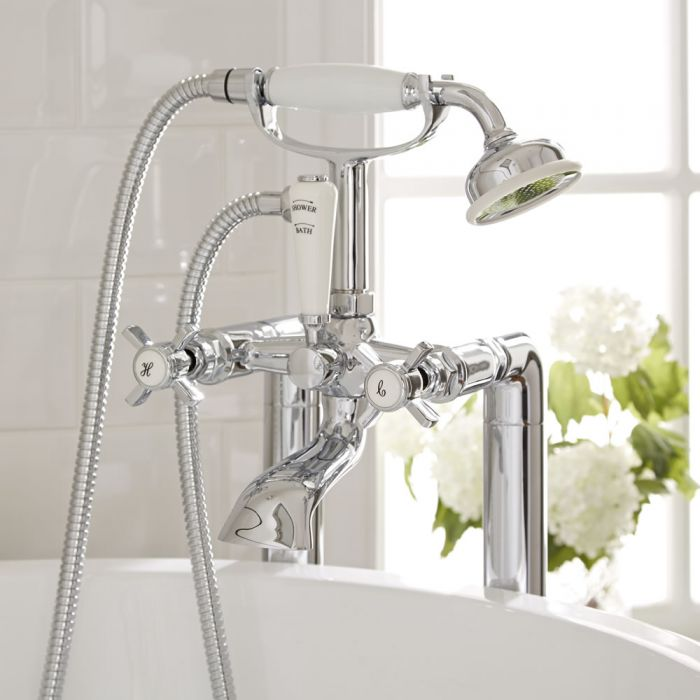 Milano Select - Traditional Crosshead Floor Standing Bath Shower Mixer Tap including Hand Shower - Chrome and White