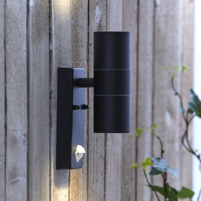 Biard Le Mans Up/Down Outdoor Wall Light with PIR - Black