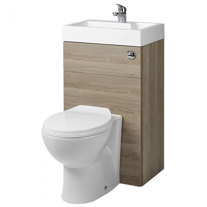 Milano Lurus - Oak Modern Select Toilet and Basin Unit Combination - 502mm x 890mm