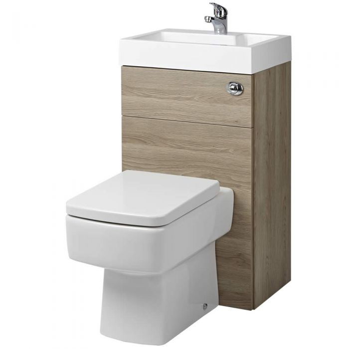 Milano Lurus - Oak Modern Farington Toilet and Basin Unit Combination - 502mm x 890mm