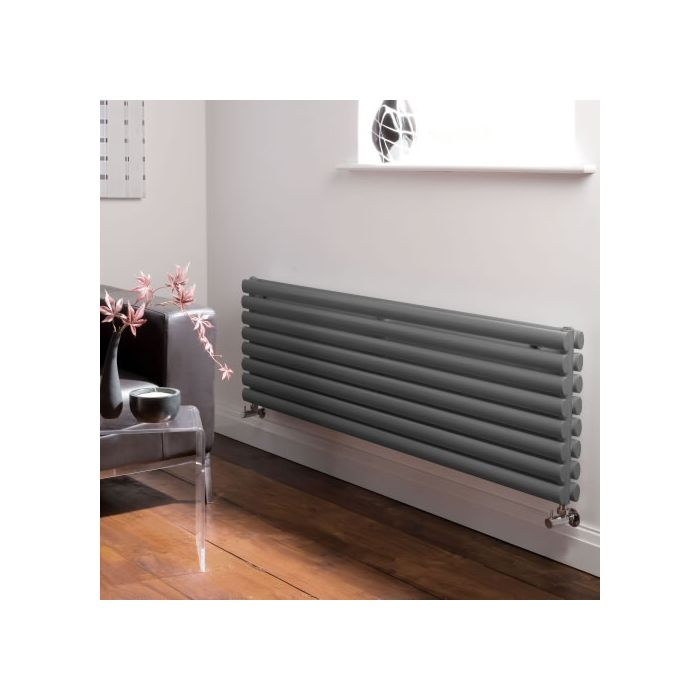 Milano Aruba - Anthracite Horizontal Designer Radiator - 472mm x 1600mm (Double Panel)