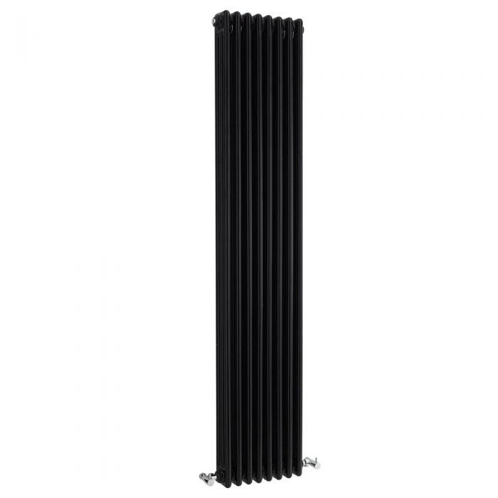 Milano Windsor - Black Horizontal Traditional Column Radiator - 1800mm x 381mm (Double Column)