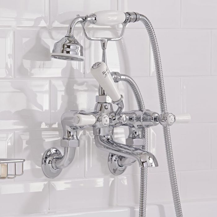 Hudson Reed Elizabeth - Traditional Lever Head Wall Mounted Bath Shower Mixer Tap including Hand Shower - Chrome and White