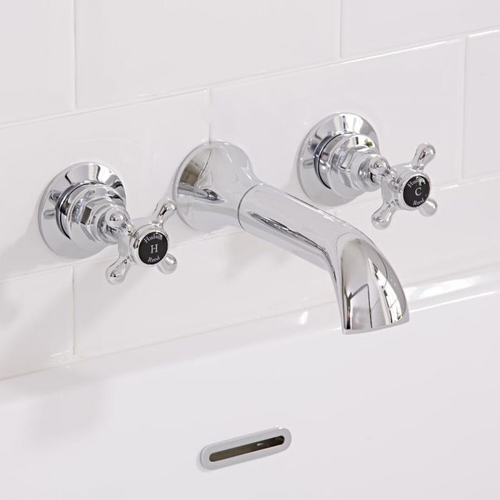 Hudson Reed Topaz - Traditional Crosshead Wall Mounted Bath Spout - Chrome and Black