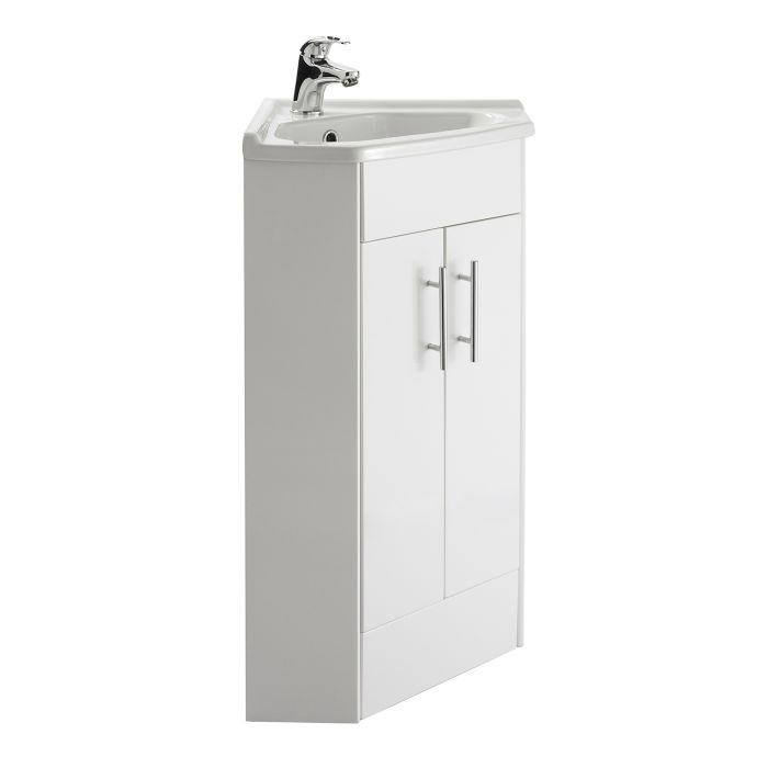 Premier White Gloss Corner Vanity Unit with Ceramic Basin