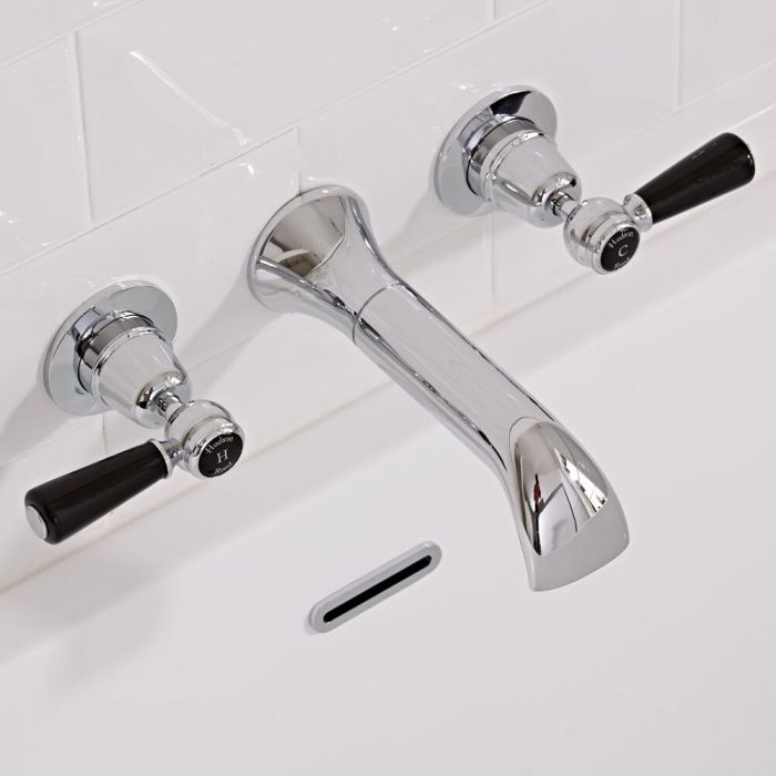 Hudson Reed Elizabeth - Traditional Lever Head Wall Mounted Bath Filler Taps - Chrome and Black