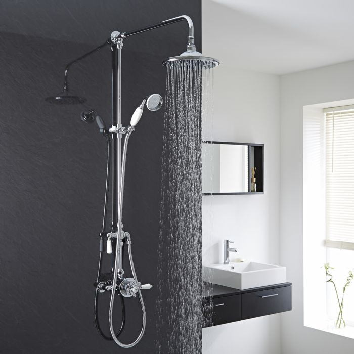 Milano Select - Traditional Rigid Riser Shower Head Kit with Hand Shower and 2 Outlet Dual Control Concealed Valve