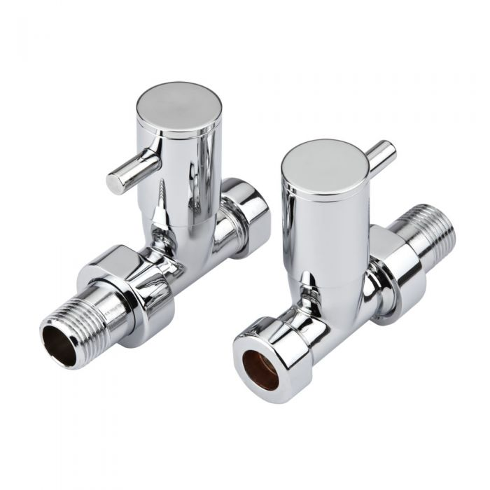 Milano - Chrome Minimalist Straight Radiator Valves (Pair)