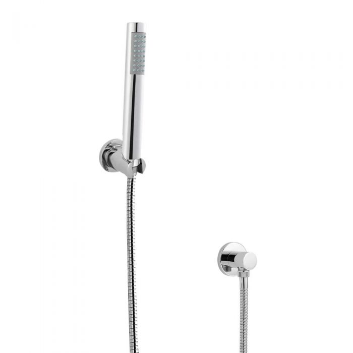 Milano Round Shower Handset Kit with Wall Bracket & Outlet Elbow