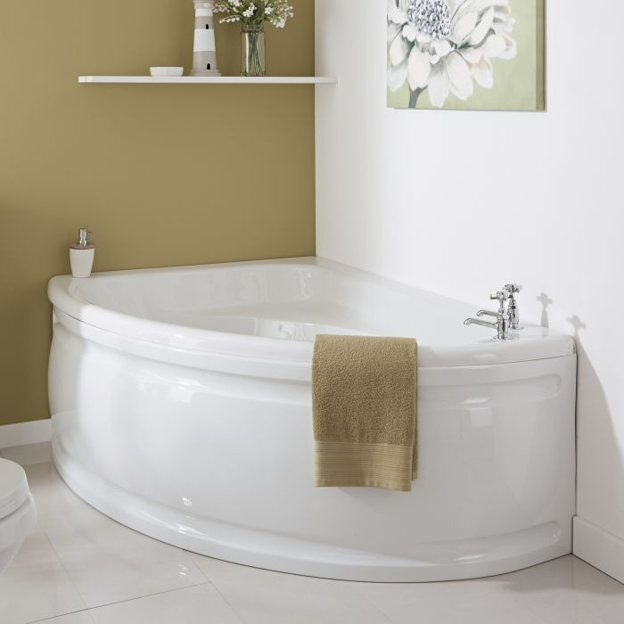 Milano - 1500 x 1020mm Corner Bath and Panel - Left Hand