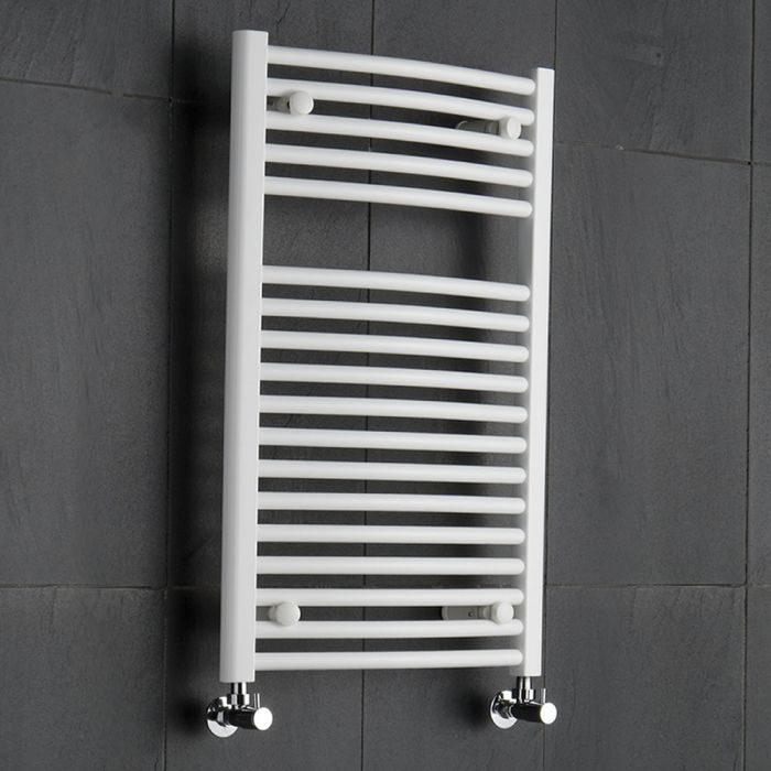 Sterling - White Curved Heated Towel Rail - 800mm x 500mm