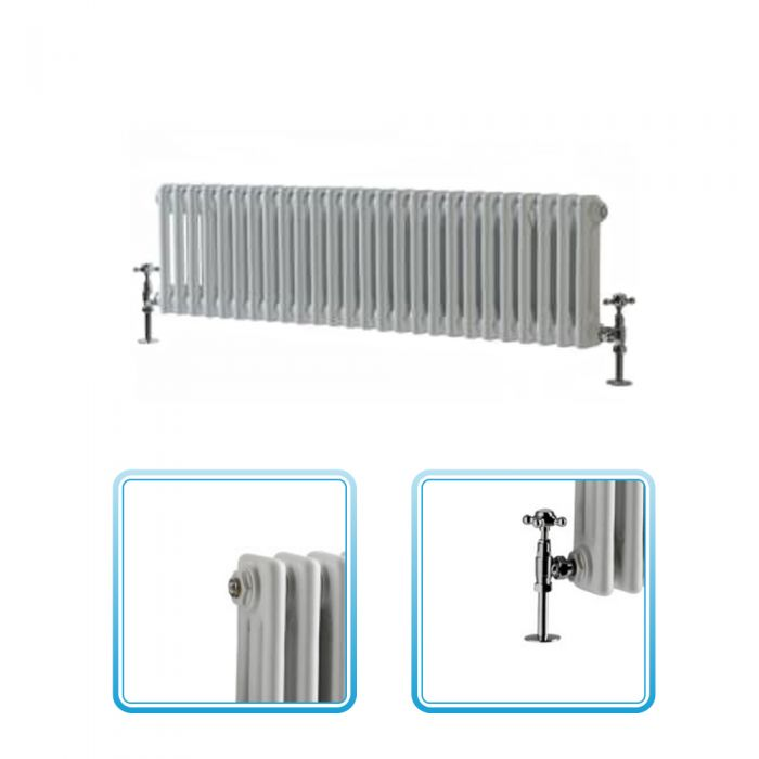 Milano Windsor - Traditional 26 x 2 Column Radiator Cast Iron Style White 300mm x 1190mm