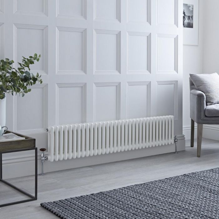 Milano Windsor - White Traditional Horizontal Column Radiator - 300mm x 1508mm (Double Column)
