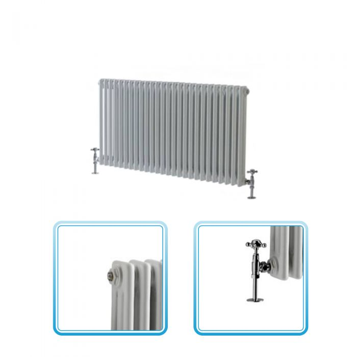 Milano Windsor - Traditional 26 x 2 Column Radiator Cast Iron Style White 600mm x 1190mm