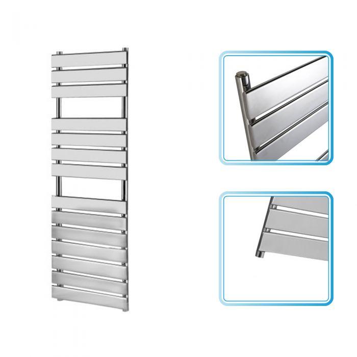 Kudox - Signelle Designer Flat Panel Chrome Plated Towel Radiator Rail 1500mm x 500mm