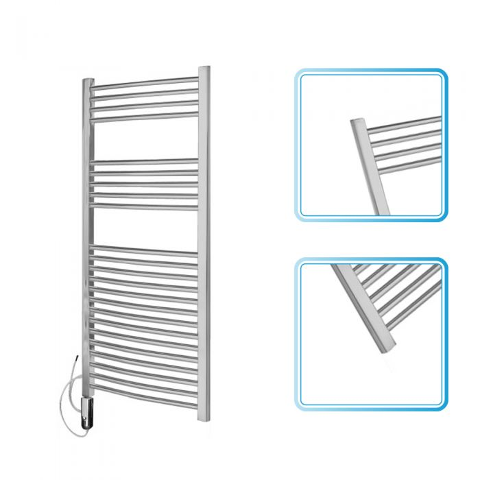 Kudox Chrome Curved Thermostatic Electric Towel Rail 1200mm x 600mm