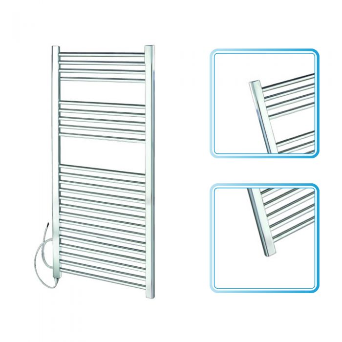 Kudox - Chrome Flat Standard Electric Towel Rail 1200mm x 600mm