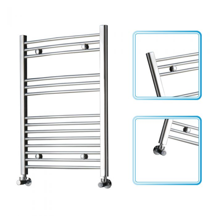 Kudox - Premium Chrome Curved Heated Bathroom Towel Radiator Rail 800mm x 600mm