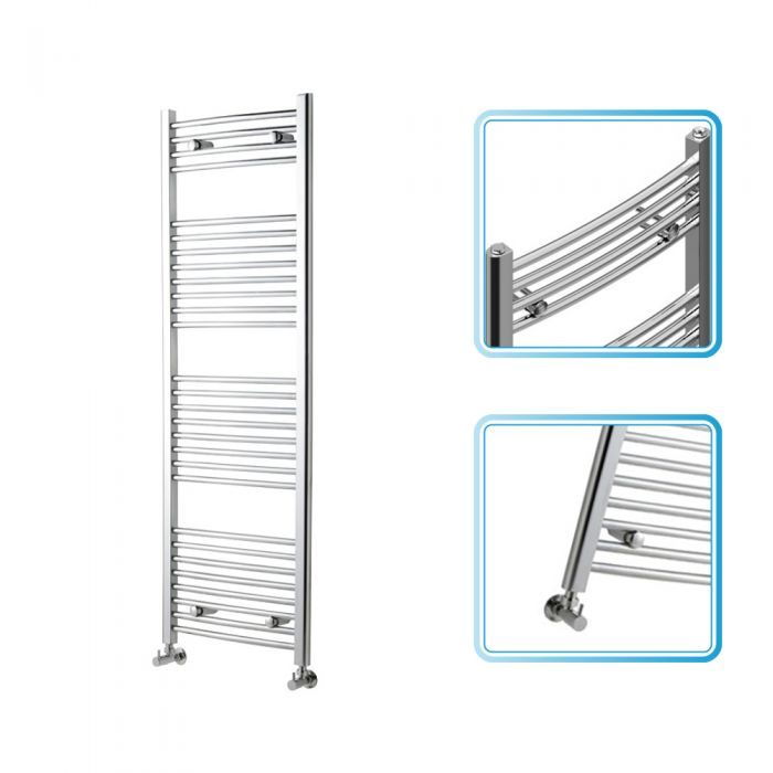 Kudox - Premium Chrome Curved Heated Bathroom Towel Radiator Rail 1500mm x 600mm
