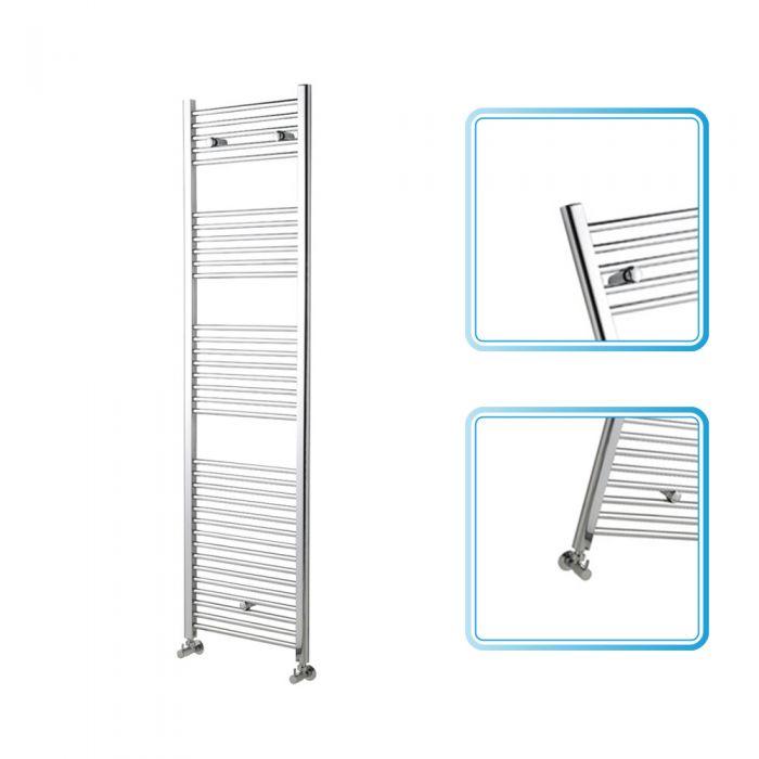 Kudox - Premium Chrome Flat Heated Bathroom Towel Radiator Rail 1800mm x 500mm