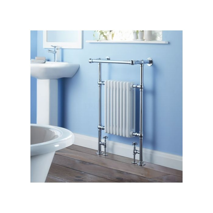 Milano Trent - Traditional Brass Heated Bathroom Towel Radiator Rail 930mm x 620mm