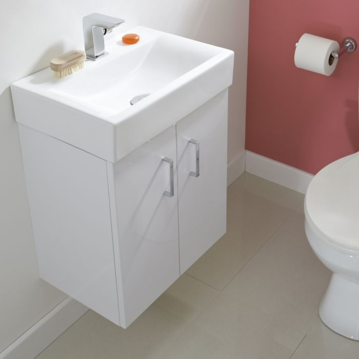Premier Checkers 450mm Wall Mounted Gloss White Vanity Unit