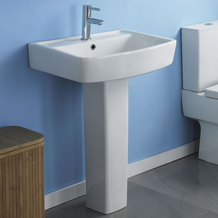 Milano Farington - 520mm Basin with Full Pedestal - 1 Tap-Hole