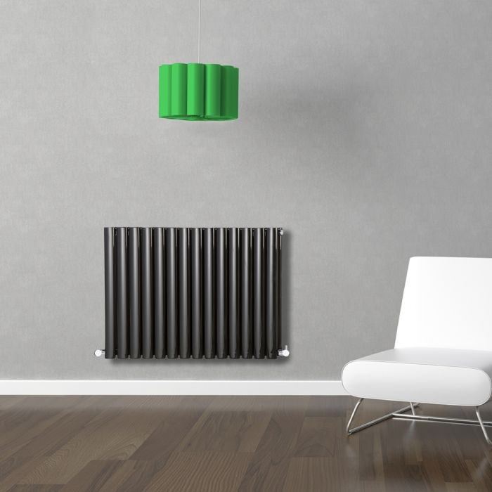 Milano Aruba - Black Horizontal Designer Radiator - 635mm x 834mm (Double Panel)
