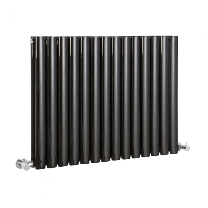 Milano Aruba - Luxury Black Horizontal Designer Double Radiator 635mm x 834mm