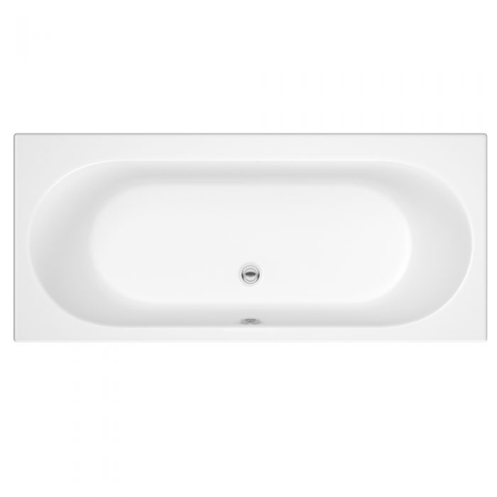 Milano Mineral - White Modern Double-Ended Standard Bath - 1700mm x 750mm (No Tap-Holes)