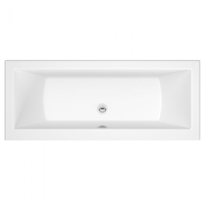 Milano Channel - White Modern Double-Ended Standard Bath - 1800mm x 800mm (No Tap-Holes)