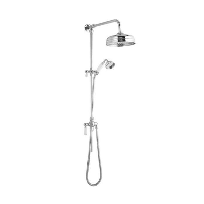 Hudson Reed Elizabeth - Traditional Victorian Grand Rigid Riser Shower Kit with 8 inch Shower Head - Chrome