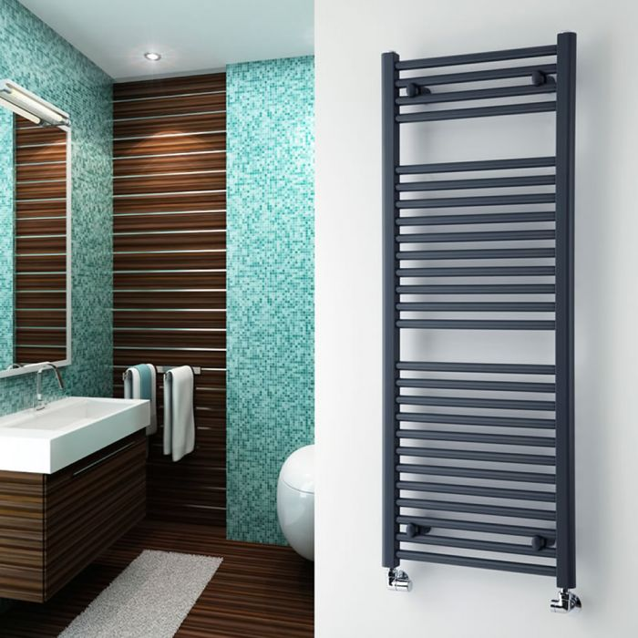 Milano Brook - Anthracite Flat Heated Towel Rail - 1200mm x 500mm