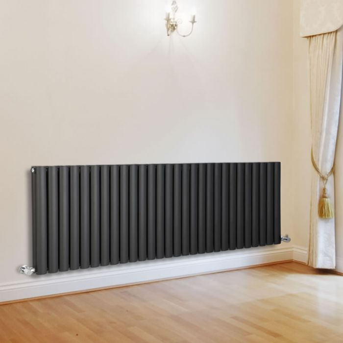 Milano Aruba - Luxury Anthracite Horizontal Designer Double Radiator 635mm x 1645mm