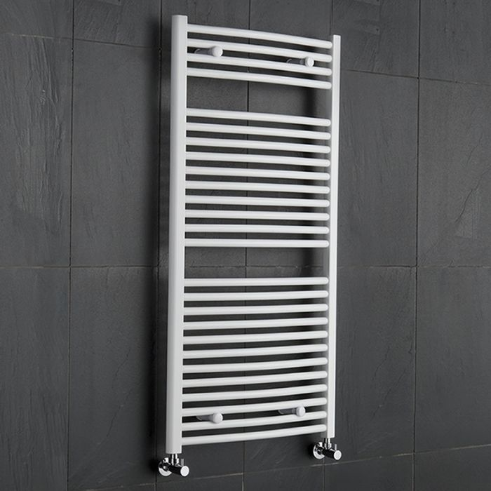 Sterling - White Curved Heated Towel Rail - 1200mm x 600mm