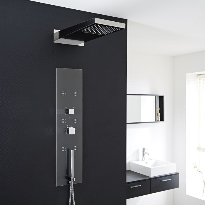 Milano Matt Concealed Thermostatic Shower Tower