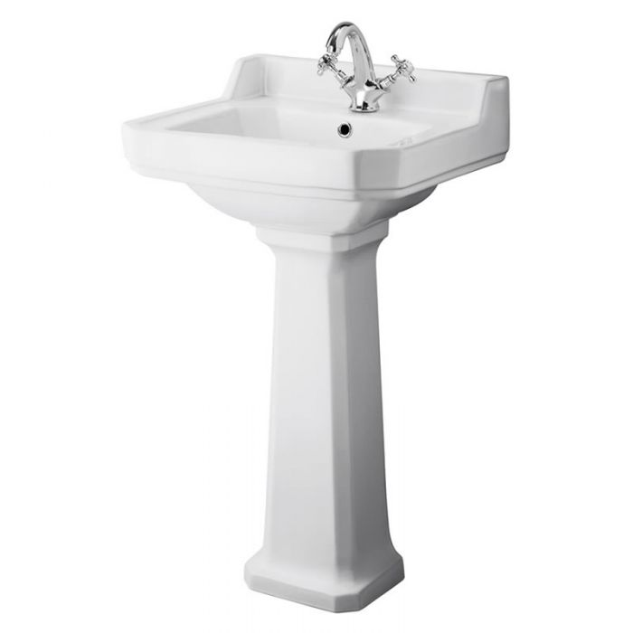 Milano Carlton - 500mm Cloakroom Basin with Full Pedestal - 1 Tap-Hole