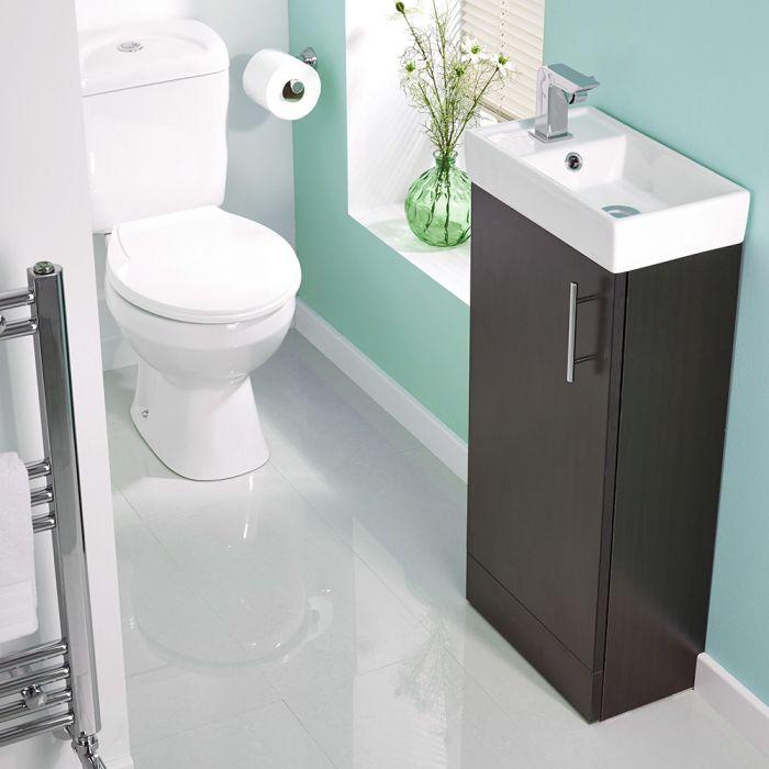 Milano Ebony Minimalist Floor Standing Cloakroom Suite