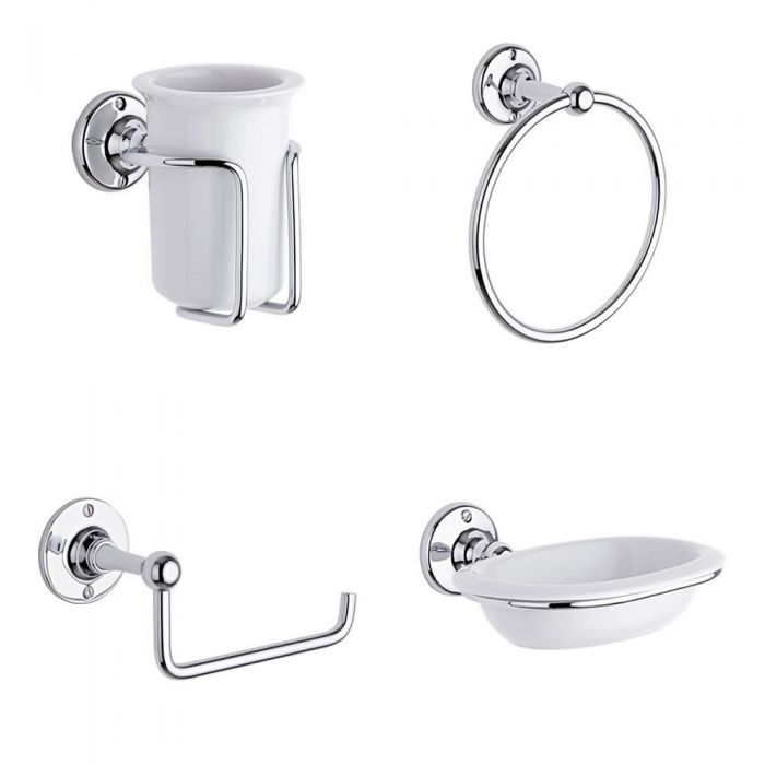 Milano Bathroom Accessory Set 4 Piece