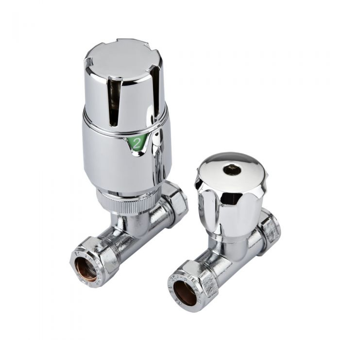 Milano Thermostatic Chrome Straight Radiator Valves (Pair)