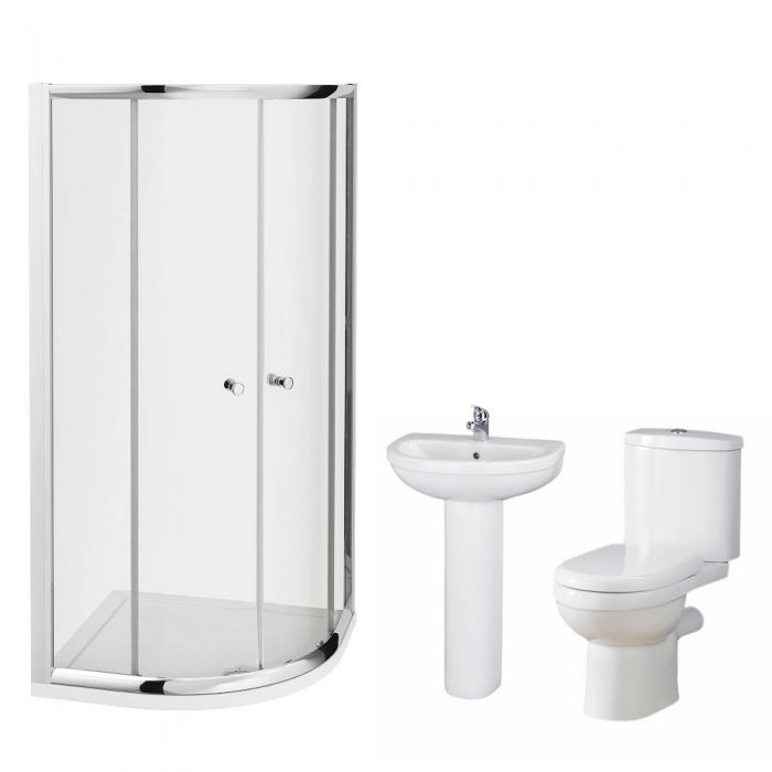 Milano 800mm Ivo Quadrant En Suite Bathroom Set With Tap & Waste