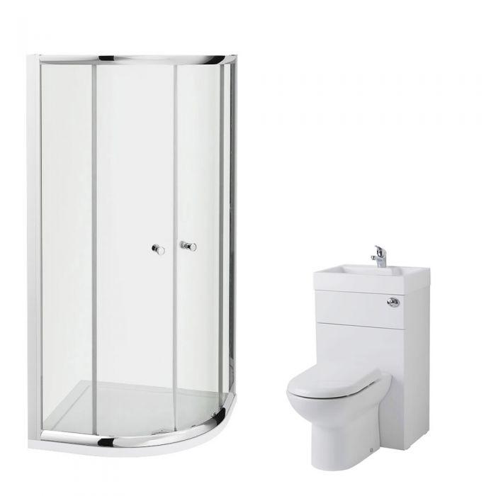 Milano 900mm Quadrant En Suite Set With Combination Toilet & Basin Unit & Tap & Waste