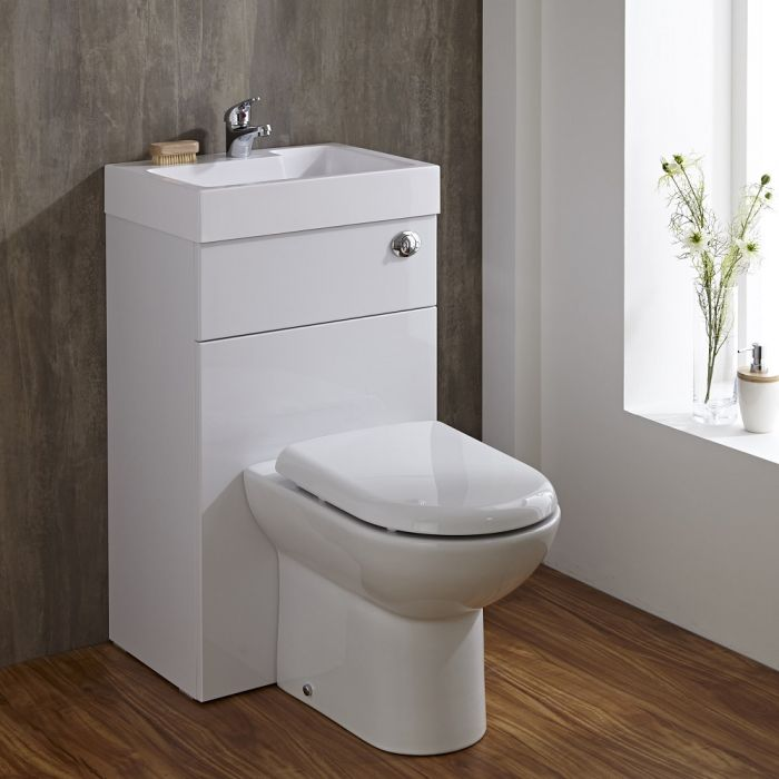 Milano Lurus - White Modern Linton Toilet and Basin Unit Combination - 500mm x 890mm