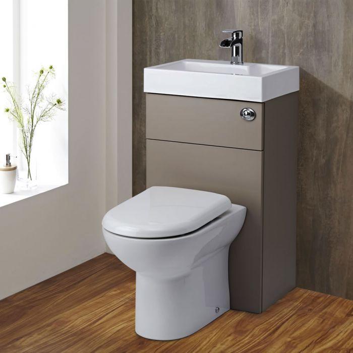 Milano Lurus - Concrete Grey Modern Linton Toilet and Basin Unit Combination - 500mm x 890mm