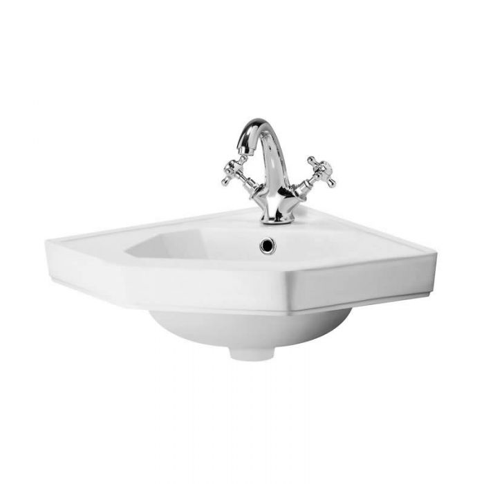 Milano Carlton - White Traditional Wall Hung Corner Basin - 450mm x 420mm (1 Tap-Hole)