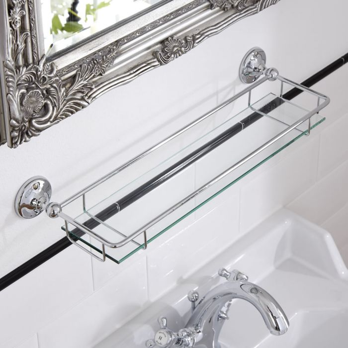 Milano Ambience Glass Gallery Bathroom Shelf with Chrome Finish
