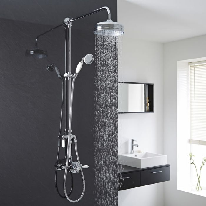 Milano Elizabeth - Traditional Hand Shower Rail with Shower Head and Exposed Dual Control Thermostatic Shower Valve
